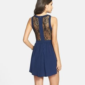 NWT Navy Blue Lace Front and Back Skater Dress